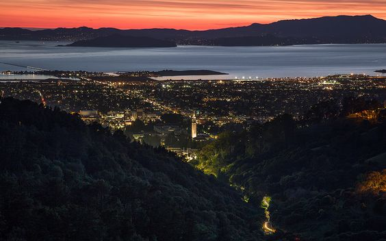 This gorgeous piece of awesome is pretty much exactly how I pictured the view from the hotel where Hugh and Truman get married, taken from somewhere in the Berkeley hills.  Strawberry Canyon | by Joe Parks