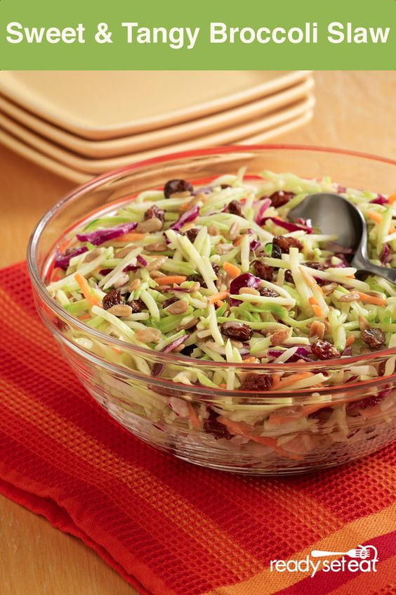 This Sweet and Tangy Broccoli Slaw is quick, easy and healthy! You can ...