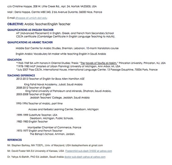 arabic teacher resume sample - http\/\/resumesdesign\/arabic - george washington resume