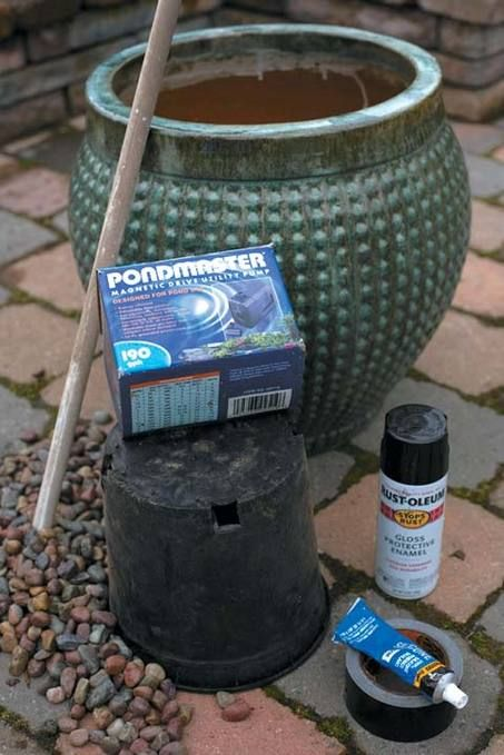 Making a pot fountain make a fountain for Pot water feature ideas
