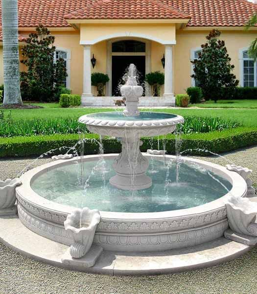 outdoor fountain and front yard landscaping ideas for modern homes