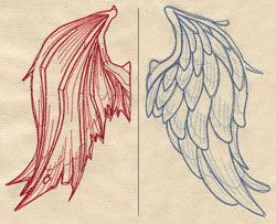 """Stitch these wings on the back of a shirt for a new twist on the classic """"angel on one shoulder, devil on the other"""" theme. Set includes both left and right wings - no need to flip the design. Dimensions listed are for one wing."""