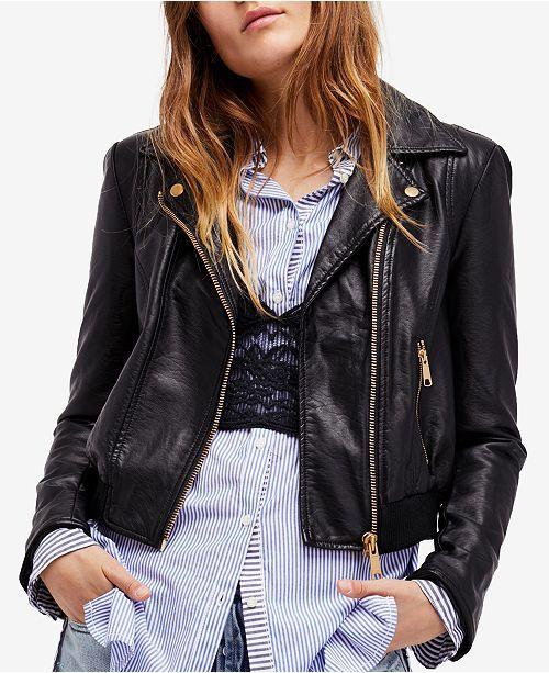Main Image Faux Leather Bomber Jacket Blazer Jackets For Women Faux Leather Bomber