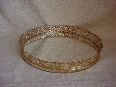 Vintage vanity tray with gold-tone ornate openwork edge