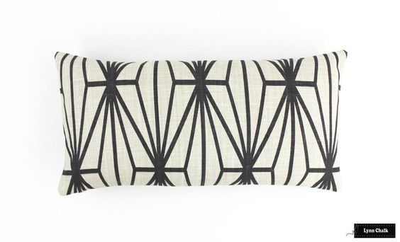 Kelly Wearstler For Lee Jofa Katana In Ebony Ivory Pillow Both Sides 12 X 24 Kelly Wearstler Designer Pillow Pillows