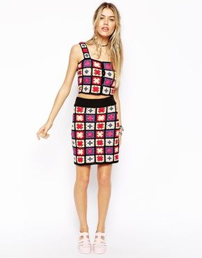 ASOS Co-ord Premium Skirt In Patchwork Crochet