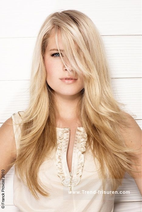 Franck Provost Lange weiblich Blonde Gerade Farbige Perfekte Mädchen Französisch Frauen Haarschnitt Frisuren hairstyles