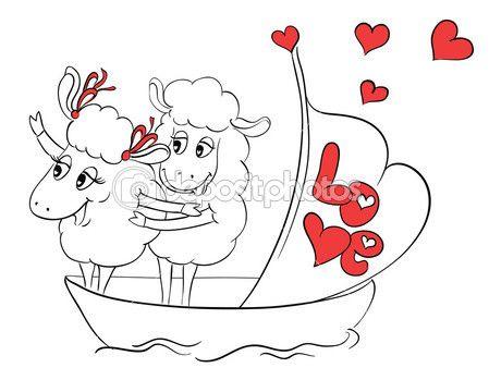 ζευγάρι στην αγάπη. δύο ευτυχής πρόβατα σε αστεία πόζα στο ΚΡΟΥΑΖΙΕΡΟΠΛΟΙΟ πλοίο στις διακοπές διακοπές ταξίδια. ιδέα για Ευχετήρια κάρτα με ευτυχισμένο γάμο ή την ημέρα του Αγίου Βαλεντίνου. καρτούν εικονογράφηση φορέα doodle — Αρχείο Εικονογραφήσεων #51222171