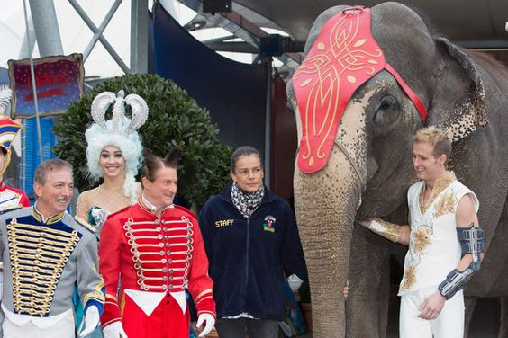 Princess Stephanie of Monaco poses with the Fumagalli family as she attends a press conference to launch the 39th International Circus Festival
