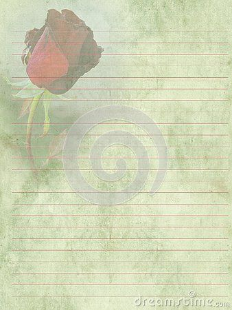 Vintage Romantic Writing Paper For Letters Background Old Paper With Lines In Red Color And Red Rose Writing Paper Old Paper Stationery Paper