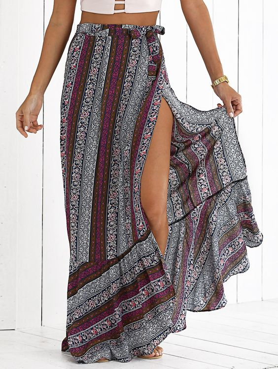 elastic waist figure pattern midi skirt bohemian