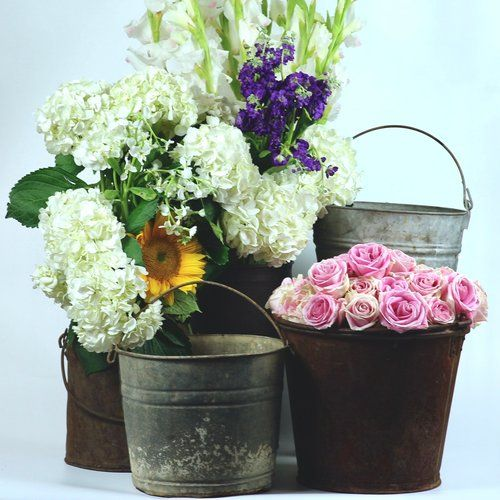 Five Rusted And Galvanized Buckets With Flowers Wedding Decor Rentals If You Want To Rent Any It With Images Wedding Rentals Decor Wedding Decorations Galvanized Buckets