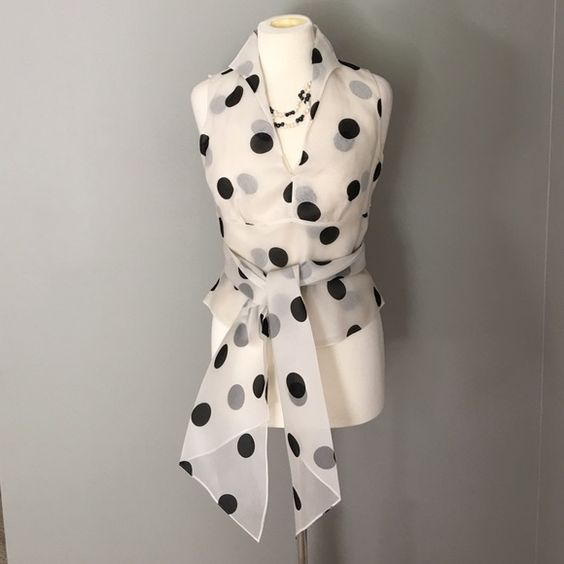 SALE Gorgeous Silk Top Very Classy Talbots 100% silk top - chiffon like with black and grey polka dots - large, broad tie around the waist - Wear it to the office, out on the town or that special event Talbots Tops