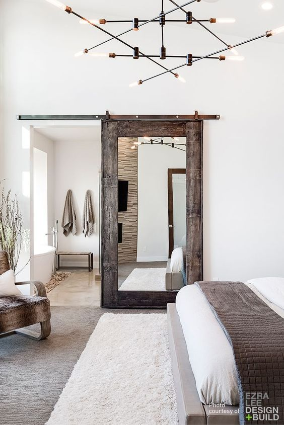 barn door with mirror