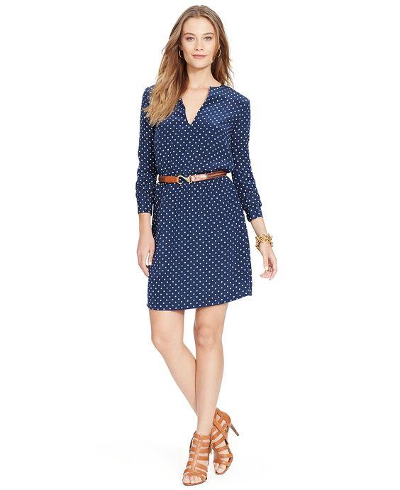 Lauren Ralph Lauren Polka-Dot Split-Neck Dress - Lauren Ralph Lauren - Women - Macy's