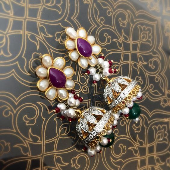Purple Pacchi work CZ Jhumka Earrings Indian small by JhumkaBali
