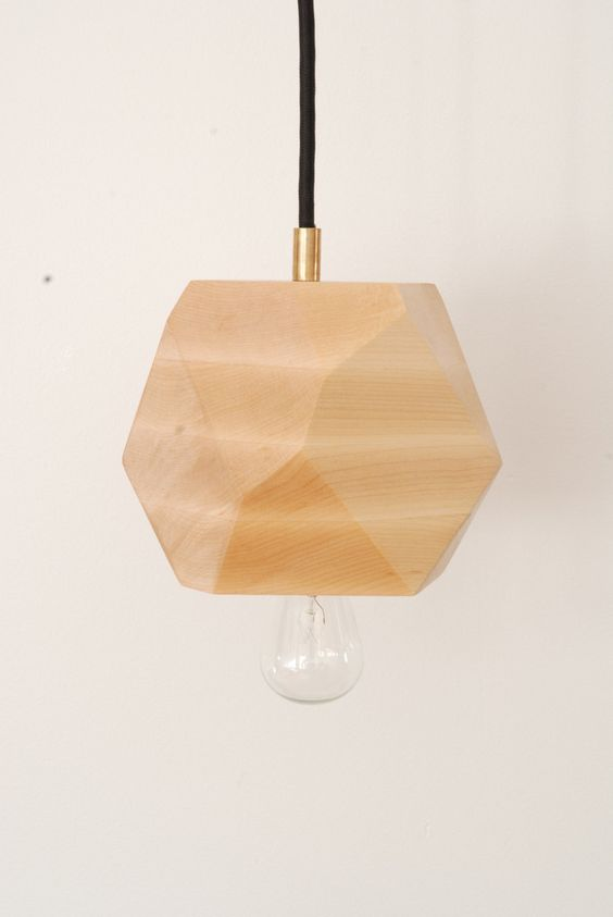 Maple Faceted Block Lamp - Hardwired