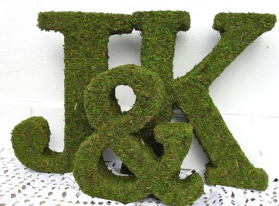 Moss-covered letters for the brick wall behind the head table?
