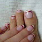 Manicure francês bonito com Glitter