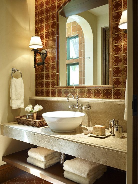 Decorating With Mexican Talavera Tile Open Shelving Under Sink And Travertine