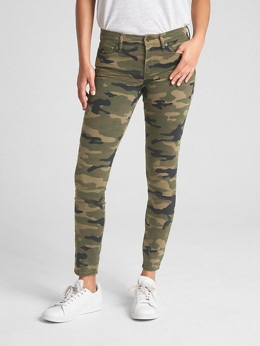 Womens Mid Rise Green Camouflage Slim Stretch Cropped Jeans Short Leg Trousers