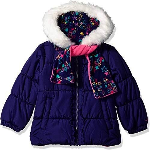 LONDON FOG Baby Girls Puffer Jacket with Scarf