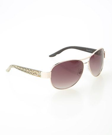 Gold Spark Sunglasses by O by Oscar de la Renta #zulily #zulilyfinds