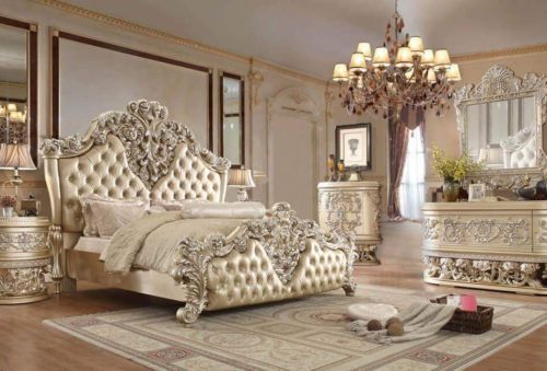Bedroom Sets 20480 Luxury Bedroom Set 8030 White Eastern King