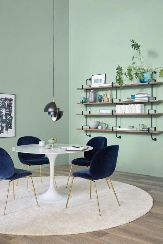 Color Trend 2020 Neo Mint In Interiors And Design Green Painted Walls Mint Green Walls Green Wall Color