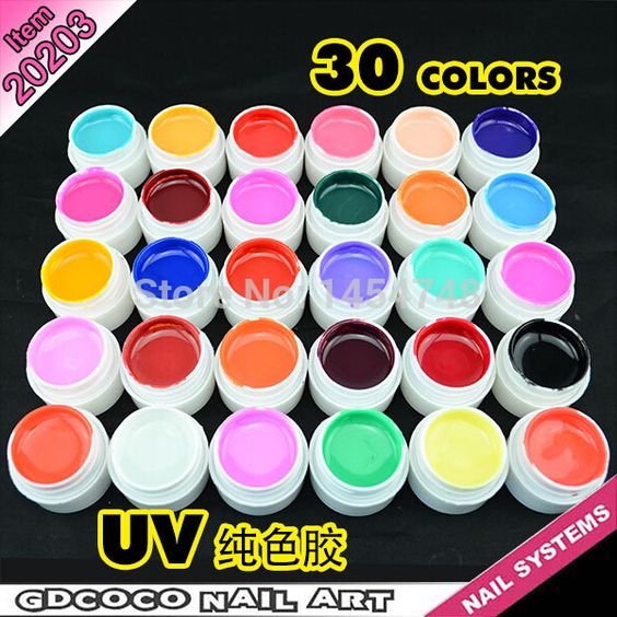 New 30 Pcs Mix Pure Color Nail Art UV Builder Gel Set for Acrylic False Tips alishoppbrasil