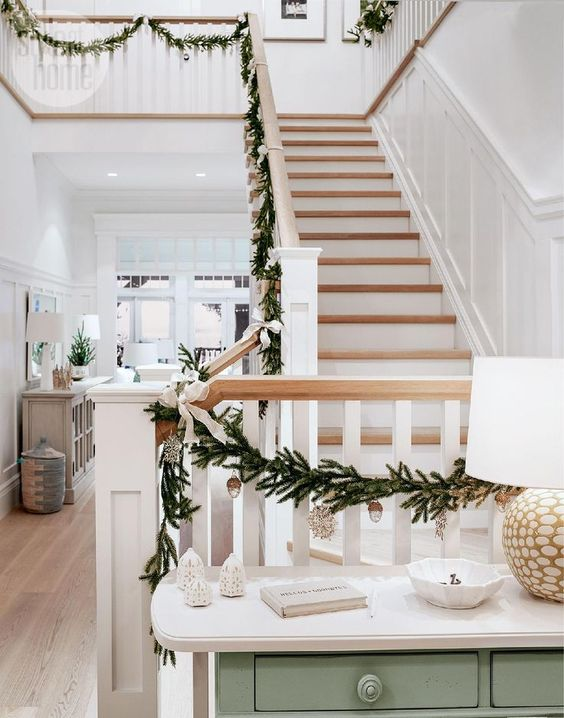 Nestled in the woods of Langley, B.C., this family home conjures up party-ready Christmas cheer with soft neutrals, natural accents and twinkling lights.