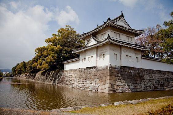 Japonsko, Kjóto, pagoda, příkop, voda, nebe, stromy, krása