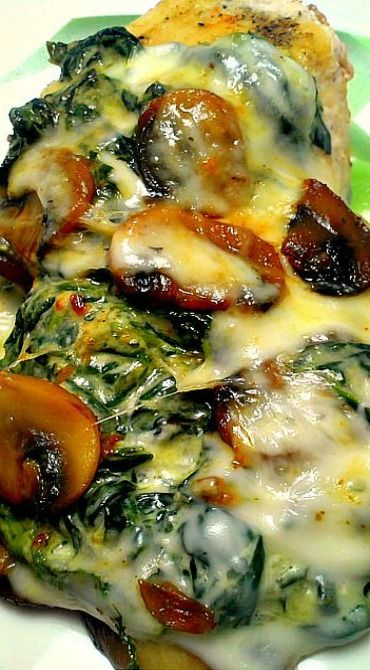 Smothered Chicken with Mushrooms and Creamed Spinach*