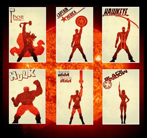 Movie poster movie art film print art poster print All 6 The AvengersPosters (11x17 size). $50.00, via Etsy.