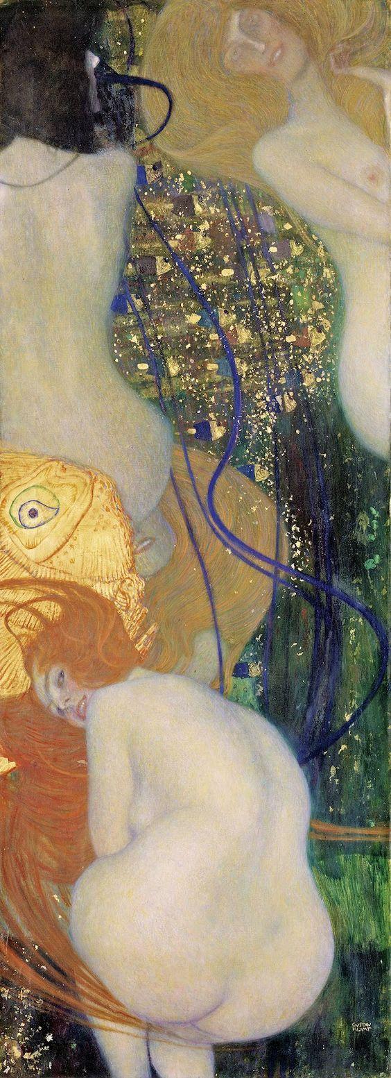 Gustav Klimt : Les poissons rouges, 1901-1902 - Me fait penser au poème de Verlaine, Mon rêve familier: