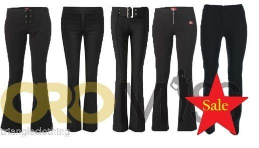 4f141a5b874 New Womens Ladies Black Plain Stretch Hipster Trousers Bootleg Zip Buckle 6  - 14