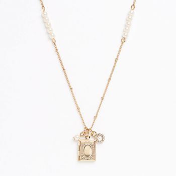 LC Lauren Conrad Gold Tone Simulated Pearl & Simulated Crystal Flower Charm Book Locket