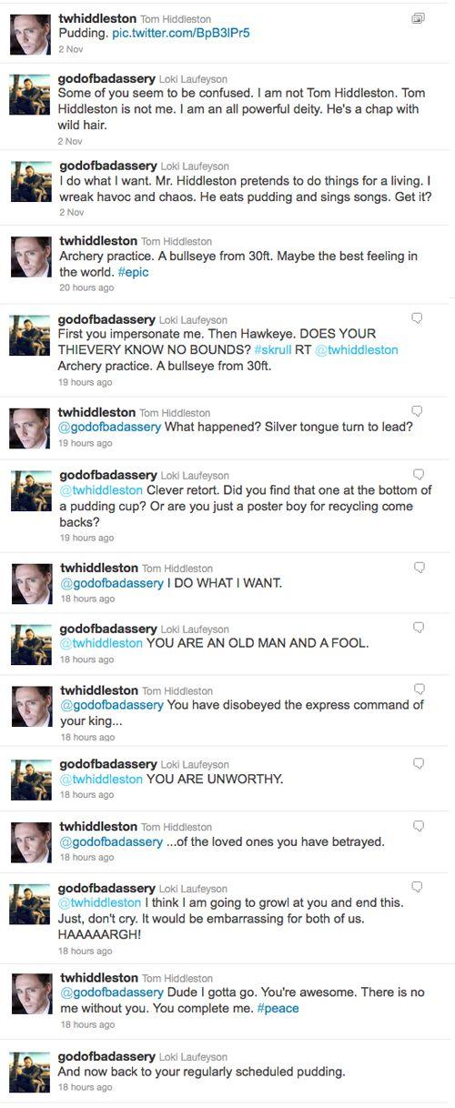 Loki (@godofbadassery) vs. Tom Hiddleston (@twhiddleston) Twitter Battle