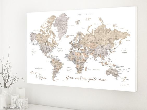 Custom quote world map canvas print - world map with cities in neutrals watercolor effect. Color combination: Abey