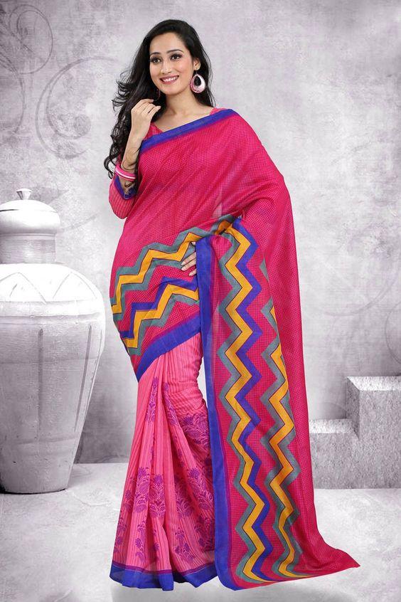 Pink Art Silk Printed Saree