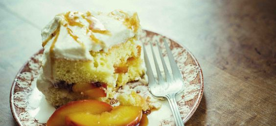 Roasted Peach Sponge Cake with Cardamom-Whipped Mascarpone