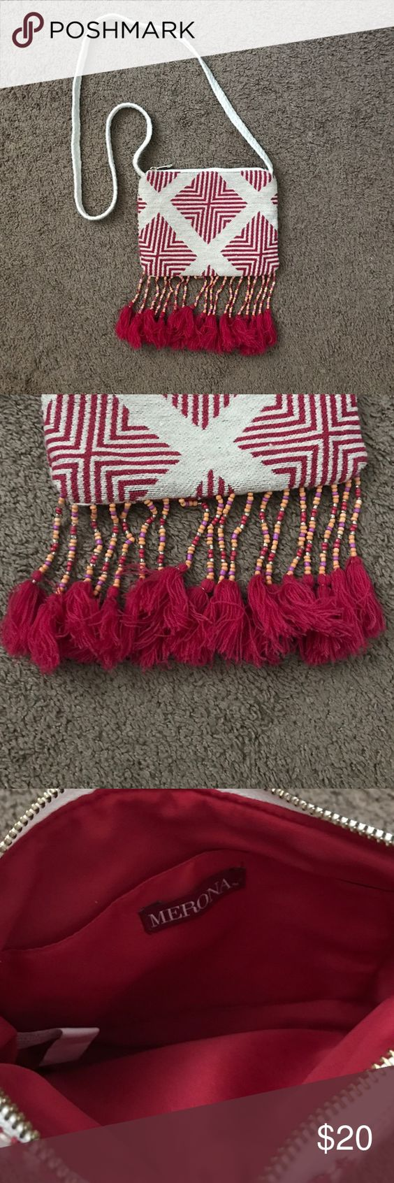 Adorable purse for sale! Super cute purse with fringe & beading at the bottom. Only used a few times! Like brand new! Merona Bags Crossbody Bags