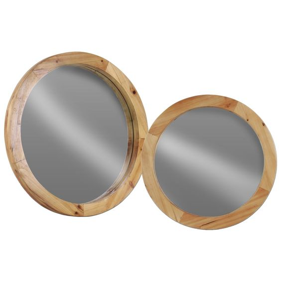 Urban Trends Collection Wood Finish Beige Wood Round Wall Mirror