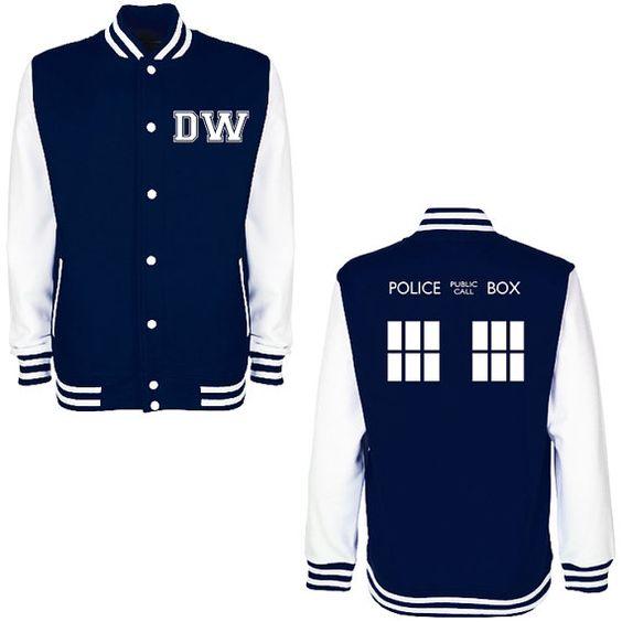 DW TARDIS Police Box Varsity Jacket - Whovian Geek Fan Doctor Who Inspired University College Letterman Baseball Jacket