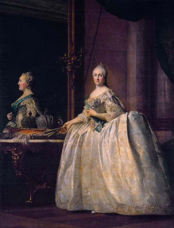 Vigilius Eriksen, Portrait of Catherine II before a Mirror, 1762, The Hermitage, St. Petersburg, oil on canvas, 265 x 203 cm