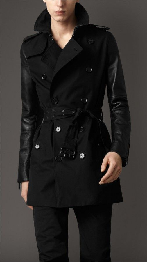 Burberry London mens cotton gabardine trench coat with leather