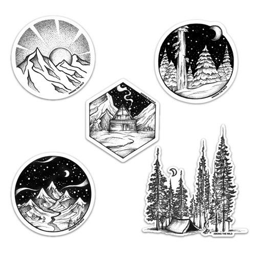 Among The Wild Forest Bound Sticker Pack Black And White Stickers Nature Stickers Print Stickers