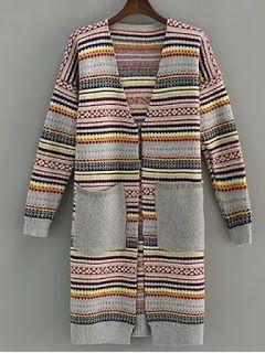 Striped Open Front Longline Cardigan