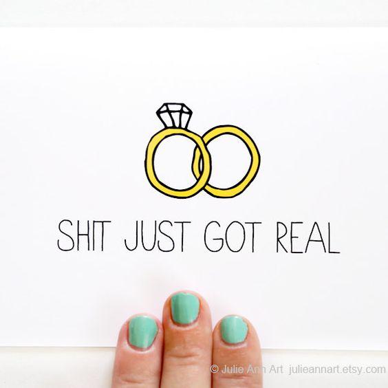 Engagement Card. Wedding Announcement. Sht Just Got by JulieAnnArt, $4.00