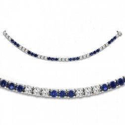 12.00 cttw Round Cut Diamond and Blue Sapphire Tennis Bracelet 14K White Gold